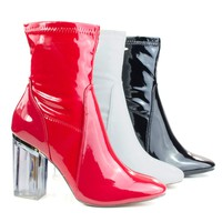 Cameron3 White Patent By X2B, Sleek Ankle Bootie Latex Patent Perspex Glass Block Heel w Pointed Toe