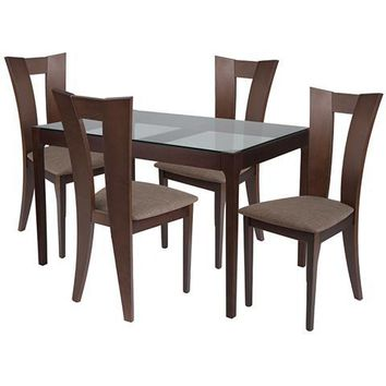 Livingston 5 Piece Espresso Wood Dining Table Set with Glass Top and Slotted Back Wood Dining Chairs - Padded Seats