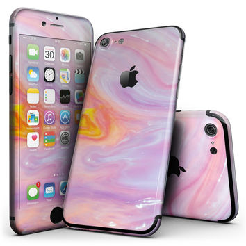 Marbleized Pink and Purple Paradise V2 - 4-Piece Skin Kit for the iPhone 7 or 7 Plus