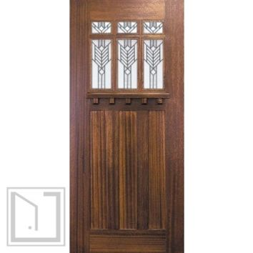 Slab Single Door 80 Wood Mahogany Craftsman 3 Panel 6 Lite TDL Glass