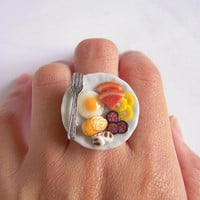 Sunday Brunch Ring #A, Miniature Food Ring, Breakfast Ring, Egg Ham Sausage Mushroom Silver Fork Adjustable Ring