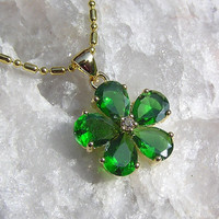 Green Emerald Flower Pendant - Vintage