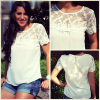 Gilded Petals Sheer Off White Lace Applique Top