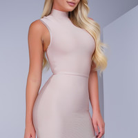 Tatiana Mock Neck Bandage Dress - Nude