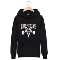 2016 Autumn Thrasher men's Hoodie Cotton Clothing Thin Trasher Sweatshirt Couple Pentagram hip hop Skateboard hombre