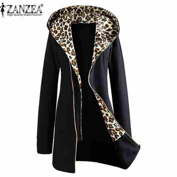Plus Size M-XXL A/W Fashion Women's Leopard Print Coat