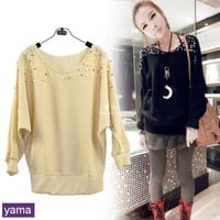 2014 Hot Sell Korea Women's Fashion Long Sleeve Pearl Knit Cardigan Top Coat Sweater Jumpers Gown 2 Colors Free Postage R70 = 1946006020