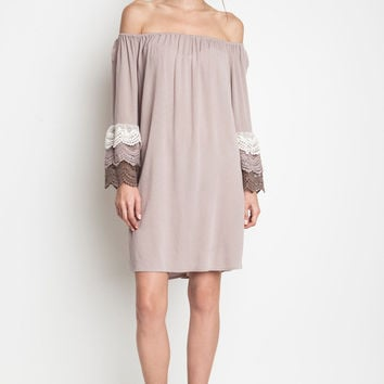 Off The Shoulder Lace Dress - Taupe