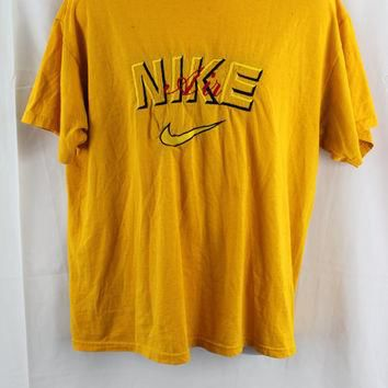 vtg 90s Nike Air Embroidered T-shirt Yellow / Black / Red - XL -Extra Large - Jordan