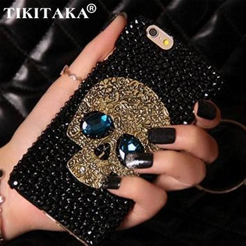 Diamond Bling Rhinestone Skull With Blue Eye Cover Fashion Phone Cases For iPhone 5 5s 6 6S 7 8 Plus Samsung S8 S7 S6 Edge Case