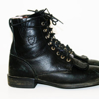 90s roper Boots lacers combat black leather Cyber Goth Punk soft Grunge Club Kid Festival boho cosplay hipster motorcycle western us 7 uk 5