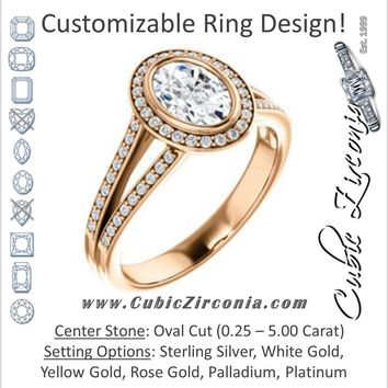 Cubic Zirconia Engagement Ring- The Josefina (Customizable Halo-Style Oval Cut with Wide Split-Band Pavé)
