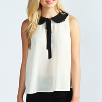 Susie Wide Collar Sleeveless Blouse