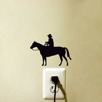 Cowboy Riding A Horse Fabric Wall Decal - Western Wall Decor - Horse Laptop Sticker - Country Western Wall Art - Rodeo Mac Sticker