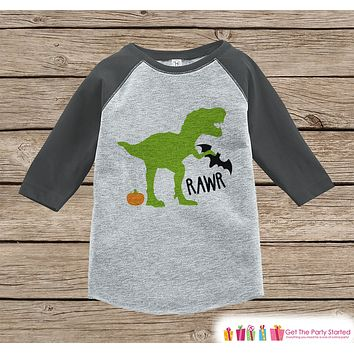 Kids Halloween Shirt - Funny Halloween Dinosaur Black Bat Shirt - Grey Raglan Shirt or Onepiece - Happy Halloween Party - Halloween Costume