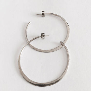 Sterling Silver Large Hoop Earrings, Minimalist Hoop Earrings, BoHo Hoop Earrings, Perfect Casual Earrings