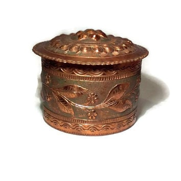 Vintage Copper Tobacco Jar - Copper Cannister or Trinket Box - Candy Dish, Copper Can