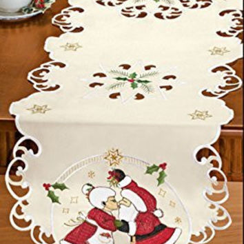 Mr. and Mrs. Santa Claus Kissing Couple Table Runner