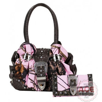 Mossy Oak Gathered Satchel Bag and Wallet Set