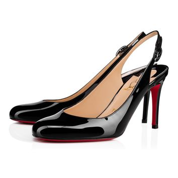 Christian Louboutin Cl Miss Gena Sling Black Patent Leather 18s Pumps 1181028bk01