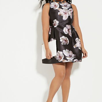 Plus Size Floral A-line Dress