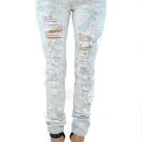 (anr) Chain light acid wash distressed jeans