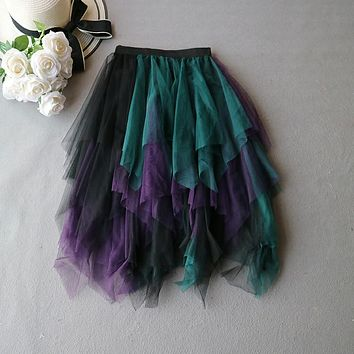 Yuppies Fashion High Waist Long Tulle Skirt Women Irregular Hem Mesh Tutu Skirt 2017 Spring Party Skirts faldas saia jupe