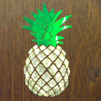 Gold leaf pineapple decal Pineapple car decal Pineapple laptop Pineapple wall Pineapple sticker Gold pineapple Pineapple gift Car decal
