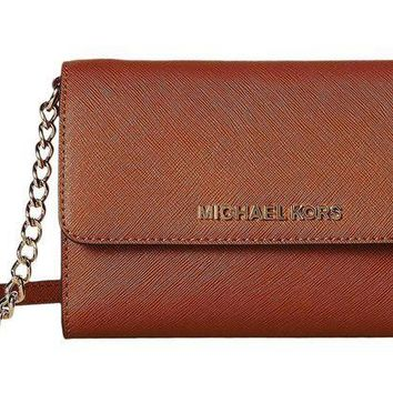 ESBON3F Michael Kors Womens Jet Set Travel LG Phone Crossbody Wallet Purse Luggage Brown