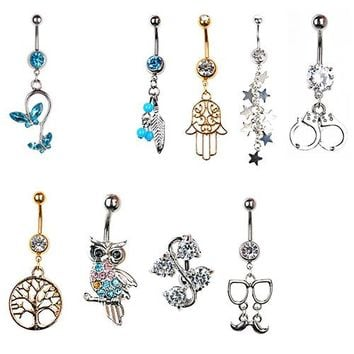 Fashion Women Rhinestone Inlaid Dangle Butterfly Tree of Life Hamsa Tassel Body Piercing Belly Button Bar Navel Ring Jewelry