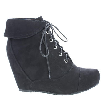 Carmela24 Black F-Suede by Bamboo, Black Suede Almond Toe Lace Up Folded Cuff Hidden High Wedge Ankle Bootie