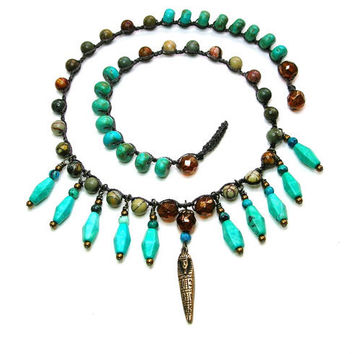 ON SALE Bohemian statement necklace  Egyptian by 3DivasStudio