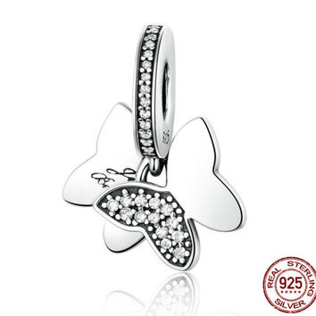 Fluttering Butterflies Clear CZ Genuine 925 Sterling Silver CHARM Bead fit Pandora Bracelet Bangle Gift Idea Authentic Swarovski Crystals