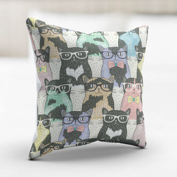 Cat Glasses Pillow Cover