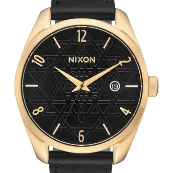 NIXON   Bullet Leather Watch - Gold/Black/Stamped