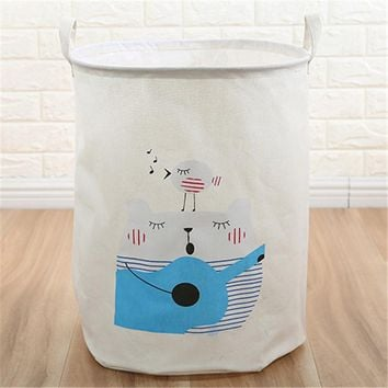 Guitar Cat Foldable Cloth Laundry Hamper Toy Storage Basket