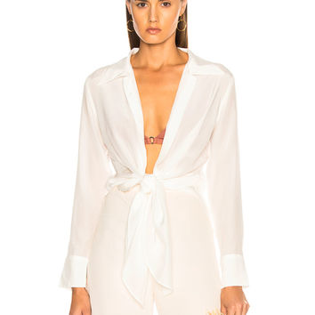 ADRIANA DEGREAS Pineapple Buttons Top in Off White | FWRD