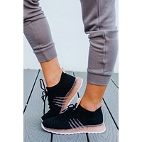One Step Away Sneakers: Black/Pink