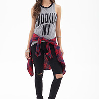 FOREVER 21 Brooklyn NY Tank Top Heather Grey/Black