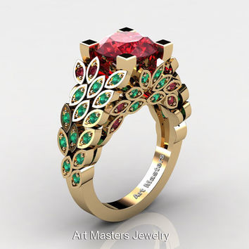 Art Masters Nature Inspired 14K Yellow Gold 3.0 Ct Rubies Emerald Engagement Ring Wedding Ring R299-14KYGEMR