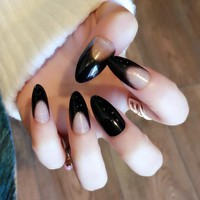 Pointed Fake Nail Tips Clear Black French Long Nails Tips Full Cover False Nails Press On Nail Manicure Tools Z450