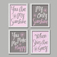 Cute Pink Grey You Are My Sunshine Quote Nursery Song Print Artwork Set of 4 Prints Wall Decor Art Picture