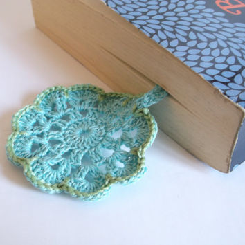 Blue Flower Bookmark, Doily Book Mark, Crochet Page Marker, Bibliophile Gift, Book Lovers, Reading Present, Crocheted Bookmark, Mandala Gift