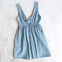 motel rocks - lyset cutout denim summer wash day dress - chambray