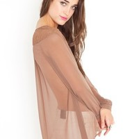Laced Chiffon Blouse - Mocha in Sale at Nasty Gal