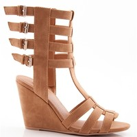 Glad Gladiator Four Buckle Gladiator Wedge Sandals - Camel