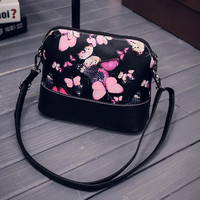 Women Printing Shoulder Bag Leather Purse Satchel  Vintage