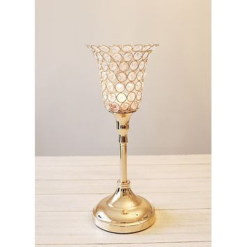 "Gold Faux Crystal Tulip Candle Holder - 15"" Tall x 5.5"" Wide"