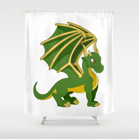 Green Dragon Cartoon Shower Curtain by MaxiHarmony