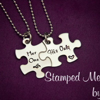 Her One, His Only - The Original - Hand Stamped Puzzle Piece Necklace - Couples Matching Gift - Wedding, Anniversary or Birthday Present